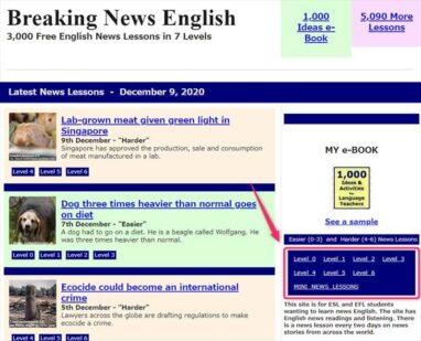 Breaking Newsは下の画像の場所からレベル別の文章が選べる